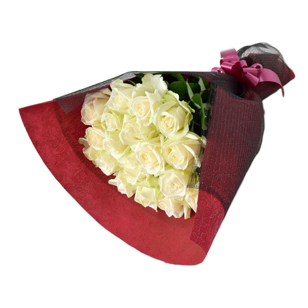 アヴァランチェ 白バラ 60cm 20本