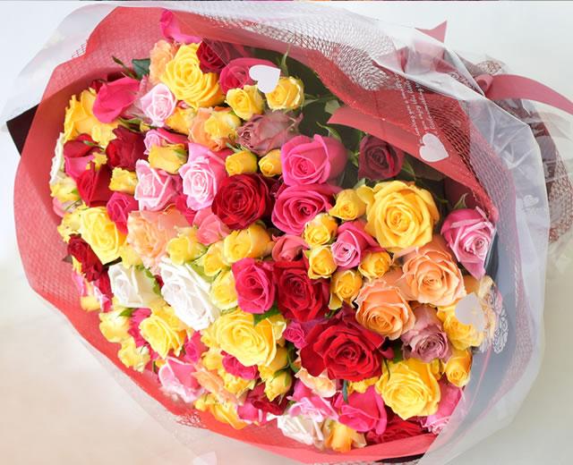 108本のバラ花束